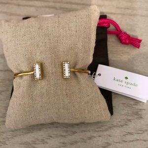 Kate Spade bracelet cuff gold white